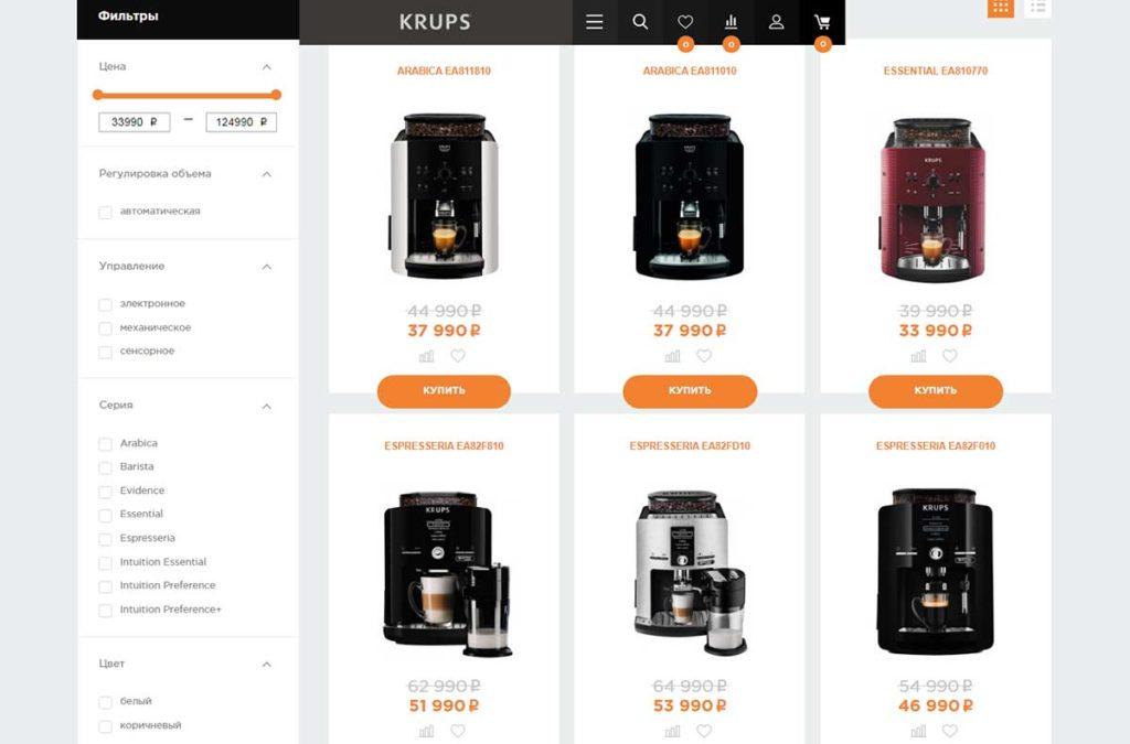 Заказать кофемашину в интернет-магазине Krups